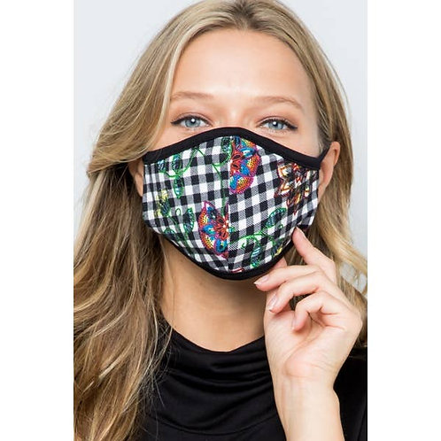 Plaid Patterned Fabric Face Mask