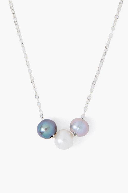 Grey Mix Pearl Trinity Necklace by Chan Luu