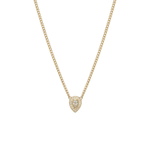 14k Extra Small Curb Chain Necklace with Pear Diamond & Pave Halo by Zoe Chicco