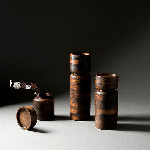 Set of Wood Candle Holder Vessels in Granadillo