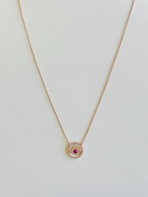 Rose Gold Evil Eye Necklace
