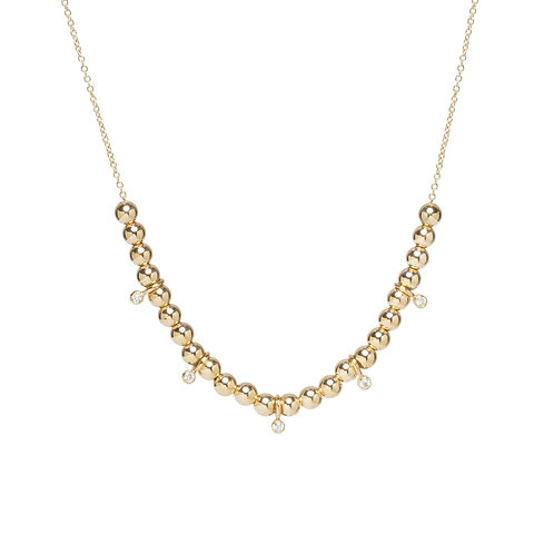 14k Gold Bead and Bezel Diamond Necklace