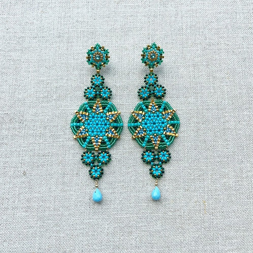 Turquoise Swarovski Crystal Earrings by Miguel Ases