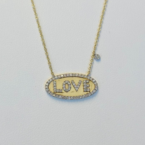 Diamond Oval Love Necklace by Miera T