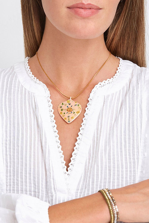 Peach Hand Painted Shell Necklace by Chan Luu