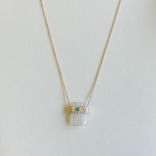 Moonstone Diamond & Turquoise Pendant