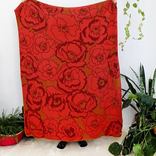 Poppy Field Knit Throw Blanket