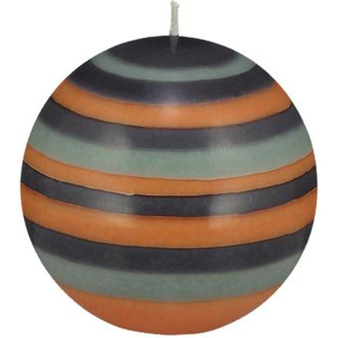 Large Striped Ball Candle in Marigold, Gunmetal & Opaline