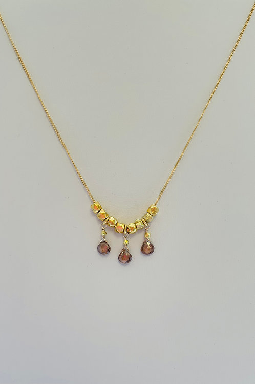 22k Gold Vermeil and Brown Zircon Necklace by Robindira Unsworth
