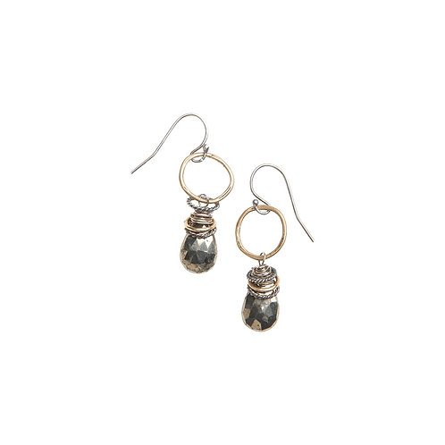 Full Circle Gemstone Earrings with Pyrite by Original Hardware