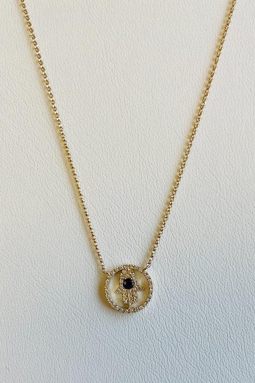 Diamond & Sapphire Hamsa Necklace by Sophia By Design