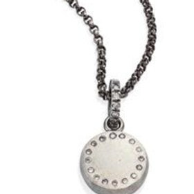 Small Diamond & Sterling Silver Round Pendant Necklace by Rene Escobar