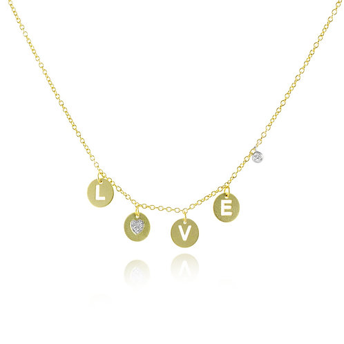 Love Disc Necklace by Miera T