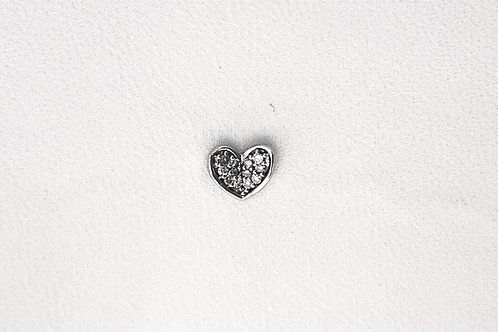 Diamond Folded Heart Single Stud Earring