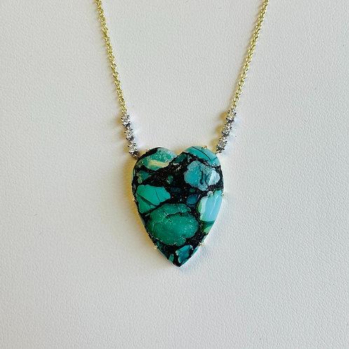 Turquoise & Diamond Pendant by Miera T