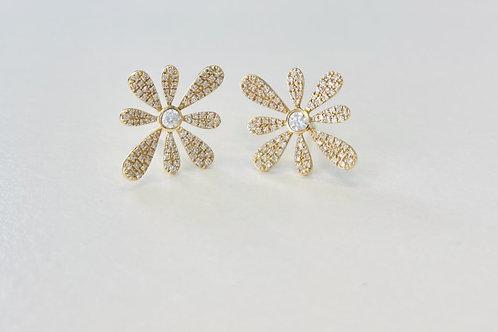 14K Yellow Gold Diamond Flower Earrings By Sophia By Design
