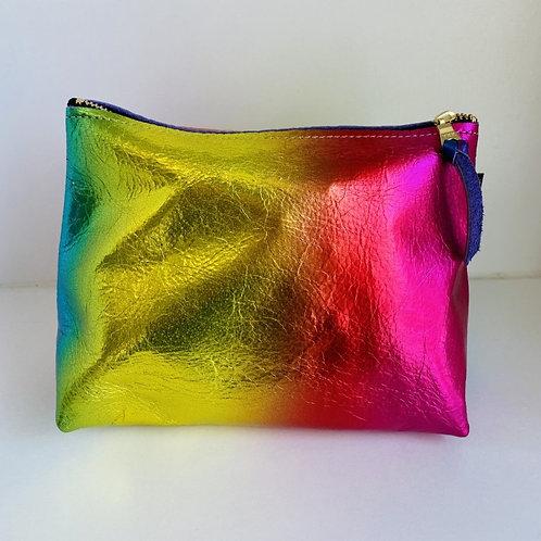 Metallic Rainbow Leather Pouch