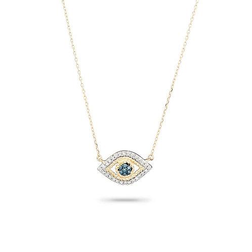 Tiny Pave Evil Eye Necklace
