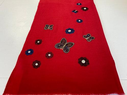 Red Butterfly & Flower Wrap by Janavi