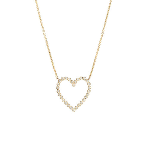 14k Bezel Diamond Heart Necklace by Zoe Chicco