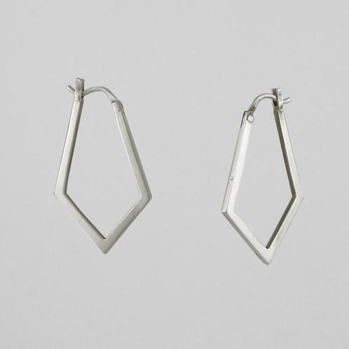 Long Diamond Hoop Earrings by Jane Diaz