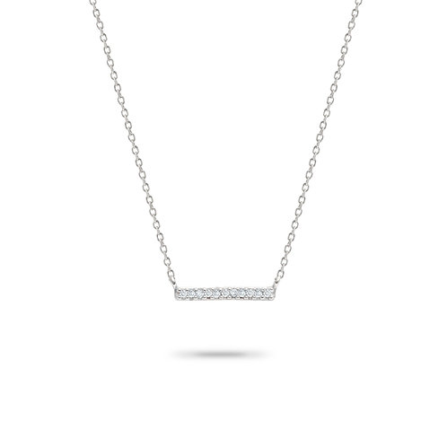 Pave' Bar Necklace in Silver by Adina Reyter