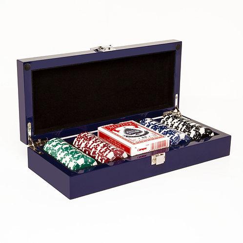 Blue Lacquer 100 Chip Poker Set