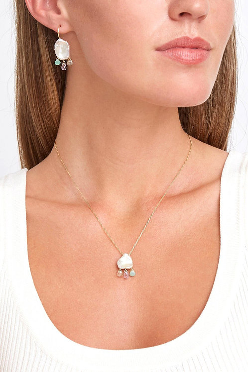 White Keshi Pearl Mix Chandelier Necklace by Chan Luu