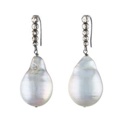 Diamond Baroque Pearl Earrings by Nathan & Moe