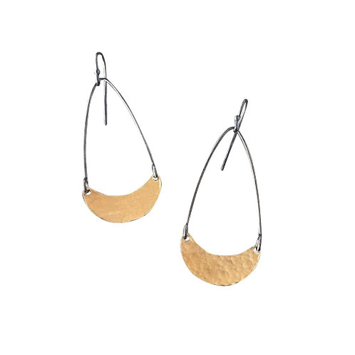 Tiny Hammered Arc Earrings by Lisa Crowder