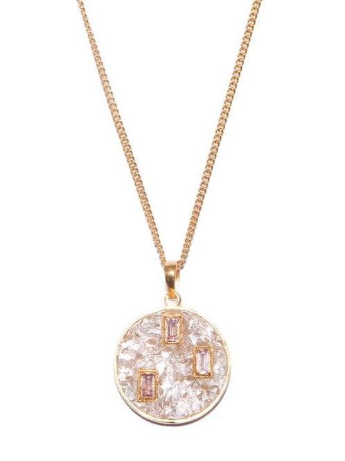 18k Gold Vermeil Diamond & Tourmaline Gyali Pendant by Shana Gulati
