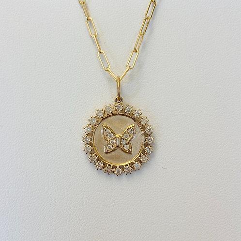 14k Diamond Butterfly Necklace
