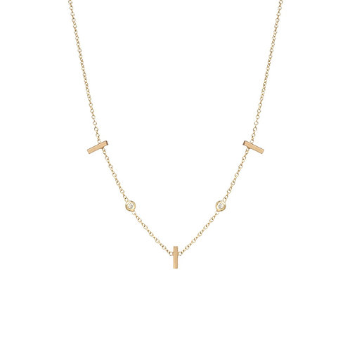3 Vertical Tiny Bars with Floating Diamonds Station Necklace by Zoe Chicco