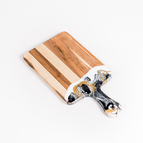 """8"""" x 16"""" Canadian Maple Resin Cheeseboard in Black/White/Gold"""