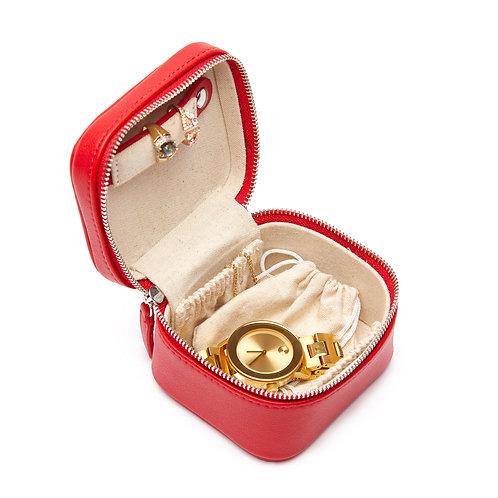 Luna Petite Travel Jewelry Case in Red