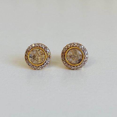 18k Gold Vermeil & Diamond Alex Stud Earrings by Shana Gulati