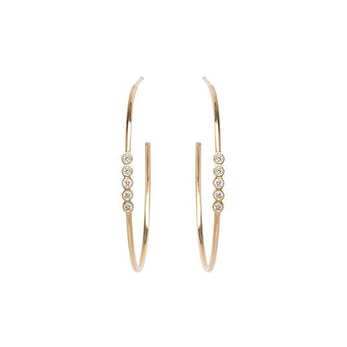 14k 5 Bezel Set Diamond Hoops by Zoe Chicco