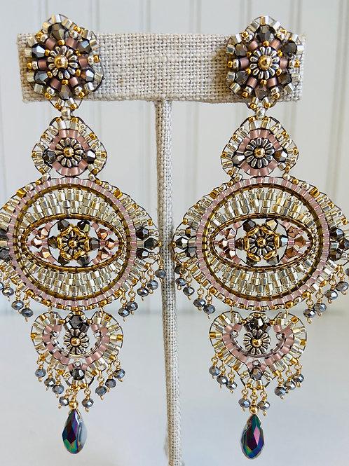 Grand Chandelier Hand-beaded Earrings