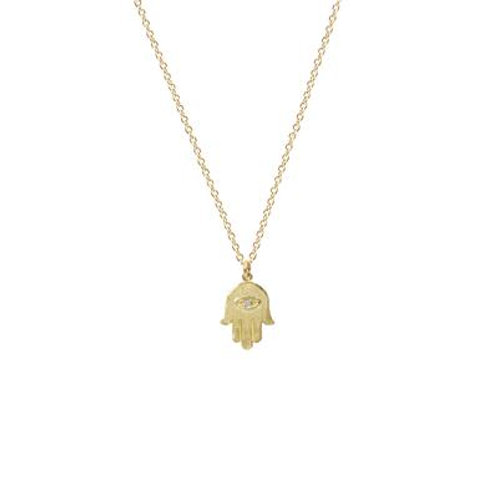 Hamsa Necklace with Diamond Eye