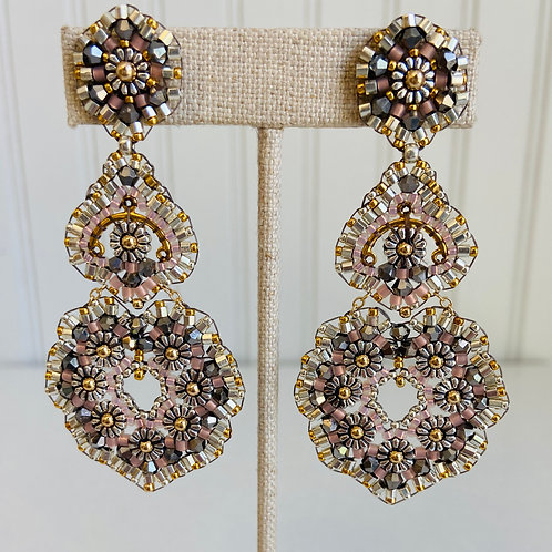 Heart Shaped Triple Drop Hand-beaded Earrings by Miguel Ases