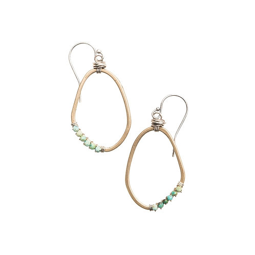 Freeform Gemstone Wrapped Earrings with Turquoise by Original Hardware