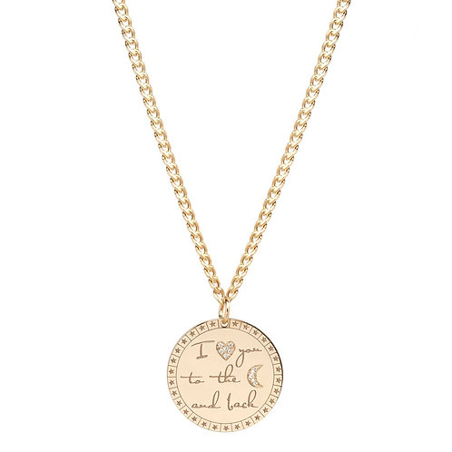 """I Love You to the Moon and Back"" Mantra Necklace by Zoe Chicco"