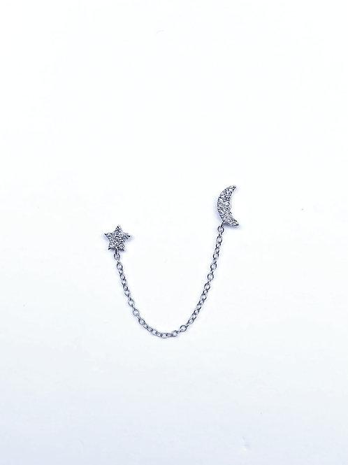 Double Piercing Sun and Moon Chain Earring