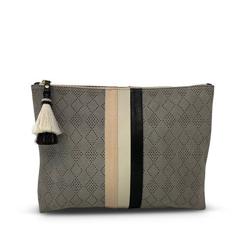Perforated Storm Suede Tri Color Medium Pouch by Kempton