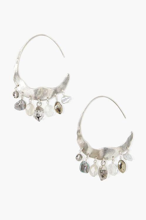 Grey Pearl & Herkimer Mix Silver Hoop Earrings by Chan Luu