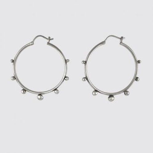 Silver Large Hoop Graduated Granulated Balls