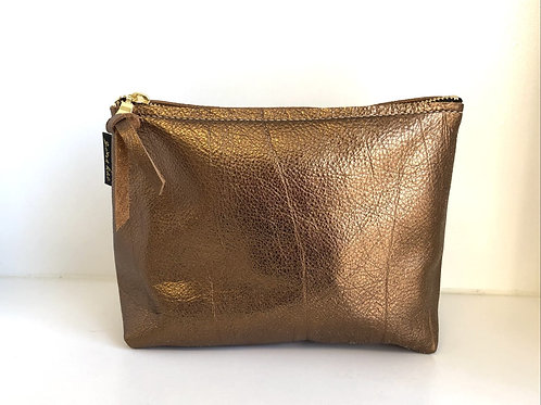 Metallic Bronze Leather Pouch