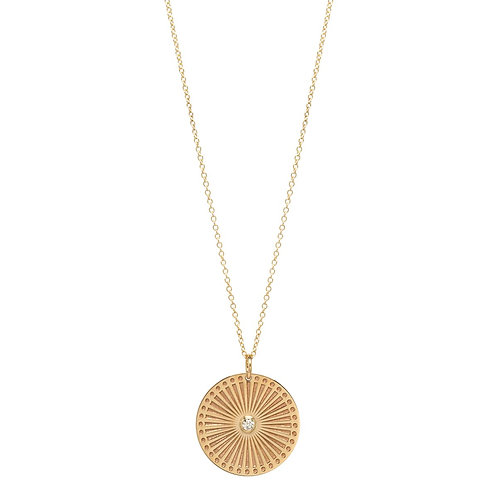 14k Medium Sunbeam Medallion with Bezel Diamond by Zoe Chicco