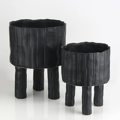 Ceramic Pot with Legs in Black