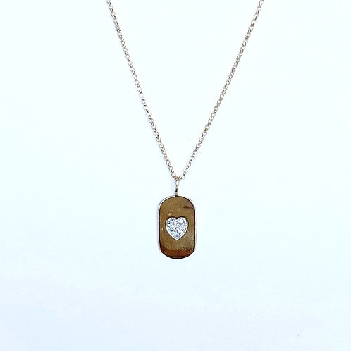 14k Yellow Gold Heart Dog Tag Pendant by Sophia by Design